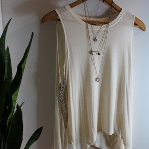 Cream Muscle Tank with Chain Detail on Sides